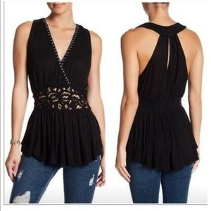 NWT Free People Megan Embroidered Crochet Tank